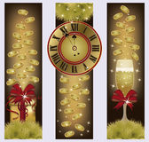 Happy New Year banners with golden coins. Vector illustration Royalty Free Stock Photos