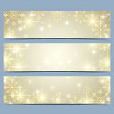 Happy New Year banners with golden snowflakes. Modern vector template.  Stock Photo