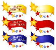 Happy New Year Banners or Logos 2. A clip art illustration of Happy New Year Banners, Logos or Labels decorated with colorful stars vector illustration