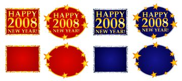 Happy New Year Banners or Logos 3. A clip art illustration of Happy New Year Banners, Logos or Labels decorated with colorful gold stars - your choice of square stock illustration