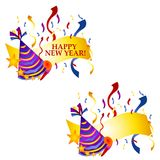 Happy New Year Banners or Logos. A clip art illustration of Happy New Year Banners, Logos or Labels with confetti, party hat and noisemaker - your choice of with royalty free illustration