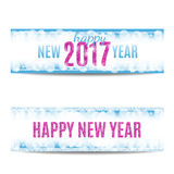 Happy New Year 2017 banners pink text and snowflakes. Happy New Year 2017 banners set. Blue background with bokeh, snow, fog and snowflakes. Pink text. Glitter royalty free illustration