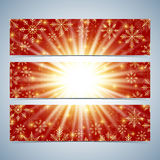 Happy New Year Banners. Red background with golden snowflakes. Modern design vector template Royalty Free Stock Images