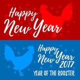Happy New Year banners. Rooster, symbol of 2017 on the Chinese c. Alendar Vector element for New Year`s design greeting cards, posters, flyers. Image of 2017 royalty free illustration