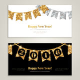 Happy New Year 2016 Banners Set with Flags. Garlands. Vector illustration. Gold and Silver Shining Pattern. Horizontal Website Banners or Greeting Cards Concept Stock Photos