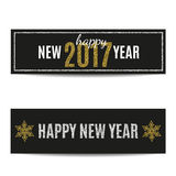 Happy New Year 2017 banners silver text and golden snowflakes Stock Photos