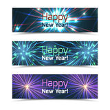 Happy New Year banners vector set with fireworks. Happy New Year banners set with fireworks. Celebration and festival, event card wish, vector illustration royalty free illustration