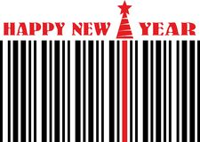 Happy new year barcode flyer. Barcode and red christmas tree silhouette on business new year congratulation card vector illustration