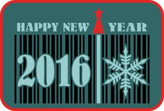 Happy new year barcode flyer Stock Image