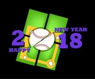 Happy new year 2018 and  baseball Stock Photos
