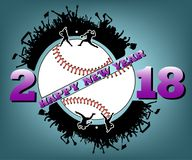 Happy new year 2018 and  baseball. Happy new year 2018 and baseball with baseball fans. Baseball player hits the ball with the filing. Vector illustration Stock Images