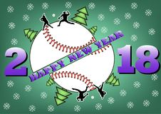 Happy new year 2018 and  baseball. Happy new year 2018 and baseball with Christmas trees. Baseball player hits the ball with the filing. Vector illustration Royalty Free Stock Photography