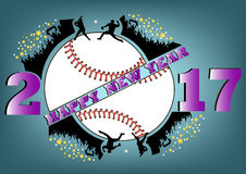 Happy new year 2017 and baseball. With baseball fans. Baseball player hits the ball with the filing. Vector illustration vector illustration