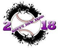 Happy new year 2018 and  baseball. Happy new year 2018 and baseball with baseball fans. Baseball player hits the ball with the filing. Vector illustration Royalty Free Stock Photos