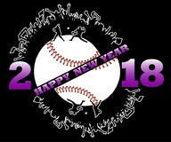 Happy new year 2018 and  baseball. Happy new year 2018 and baseball with baseball fans. Baseball player hits the ball with the filing. Vector illustration Stock Photography