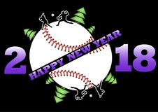 Happy new year 2018 and  baseball. Happy new year 2018 and baseball with Christmas trees. Baseball player hits the ball with the filing. Vector illustration Stock Images