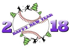 Happy new year 2018 and  baseball. Happy new year 2018 and baseball with Christmas trees. Baseball player hits the ball with the filing. Vector illustration Royalty Free Stock Photos