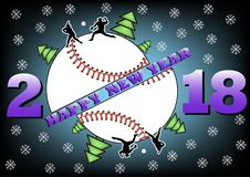 Happy new year 2018 and  baseball. Happy new year 2018 and baseball with Christmas trees. Baseball player hits the ball with the filing. Vector illustration Stock Photography