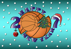 Happy new year and basketball. Happy new year 2017 and basketball with Christmas tree, ball and hat. Vector illustration Royalty Free Stock Photography