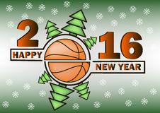 Happy new year and basketball. Happy new year 2016 and basketball with Christmas trees Stock Image
