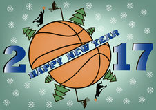Happy new year and basketball Stock Photo
