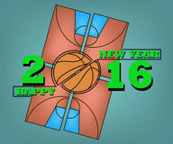 Happy new year and Basketball. Happy New Year 2016 and a basketball on field background Royalty Free Stock Photos