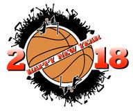 Happy new year and basketball. Happy new year 2017 and basketball with football fans. Vector illustration Royalty Free Stock Photography