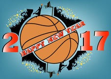 Happy new year and basketball. Happy new year 2017 and basketball with football fans. Vector illustration Royalty Free Stock Images