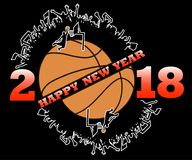 Happy new year and basketball. Happy new year 2017 and basketball with football fans. Vector illustration Royalty Free Stock Image