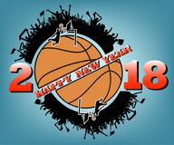 Happy new year and basketball. Happy new year 2017 and basketball with football fans. Vector illustration Stock Photography
