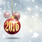 Happy New Year bauble background. Happy New Year background with hanging bauble Royalty Free Stock Photography