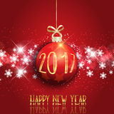 Happy New Year bauble background. Happy New Year background with hanging bauble Stock Photos