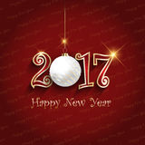 Happy New Year bauble background. Happy New Year background with hanging bauble Royalty Free Stock Images