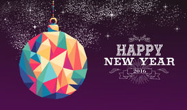 Happy new year 2016 bauble triangle hipster color. Happy new year 2016 holiday decoration greeting card or poster design with colorful triangle ornament bauble Royalty Free Illustration