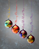 Happy New Year 2016. On baubles hung on inscriptions: Merry Christmas, Happy New Year and Ho ho ho. Render image stock illustration