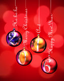 Happy New Year 2016. On baubles hung on inscriptions: Merry Christmas, Happy New Year and Ho ho ho. Render image royalty free illustration