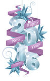 Happy New Year 2016. Baubles reading 2016 with a ribbon or banner saying Happy New Year design element with star decorations Vector Illustration