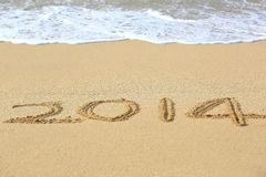 2014 drawn on the beach  Royalty Free Stock Photos