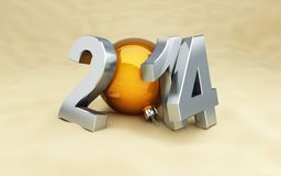 Happy new year 2014 on the beach Royalty Free Stock Photo