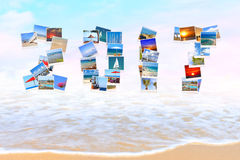 2017 Happy New Year beach Holidays. 2017 Happy New Year. Holidays.Celebration. All letters and numbers are made of Mediterranean sea coast landscapes. Sea surf stock images
