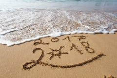Happy New Year 2018 on the beach Stock Photos