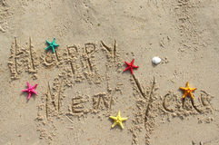 Happy New Year beach postcard Stock Photography