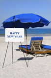 Happy New Year Beach Sign Royalty Free Stock Photos