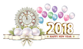 2018 Happy New Year. Beautiful Christmas card with a clock and balloons decorated with a bow Royalty Free Stock Images