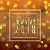 Happy new year 2018. Beautiful glossy greeting card design for Happy New Year 2018 celebration Stock Images