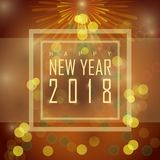 Happy new year 2018. Beautiful glossy greeting card design for Happy New Year 2018 celebration with christmas tree shape Royalty Free Stock Photos