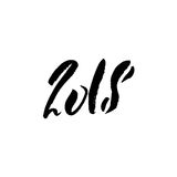 2018 Happy New Year. Beautiful greeting card calligraphy black text. Hand drawn print design. Handwritten modern brush. Lettering Royalty Free Stock Photos
