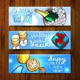 Happy new year. Beautiful hand drawn vector banners new year for your design royalty free illustration