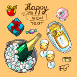 Happy new year. Beautiful hand drawn vector illustration new year for your design royalty free illustration