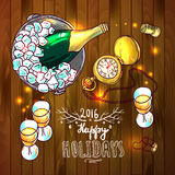 Happy new year. Beautiful hand drawn vector illustration new year for your design stock illustration